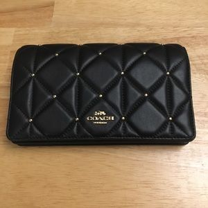 BNWT Coach Black Leather Wallet on Chain Purse